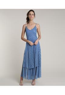 Vestido Feminino Longo Mindset Estampado Floral Em Camadas Alças Finas Azul