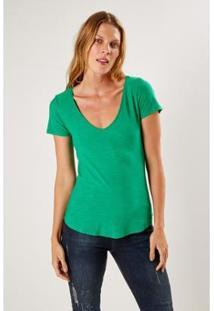 T-Shirt Malha Básica Flame Dec V Sacada Feminina - Feminino-Verde
