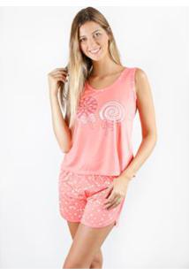 Pijama Regata Gislal Verão Shorts Doll Pirulito Feminino - Feminino-Rosa