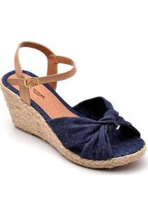 Sandália Anabela D&R Shoes Feminina - Feminino-Azul