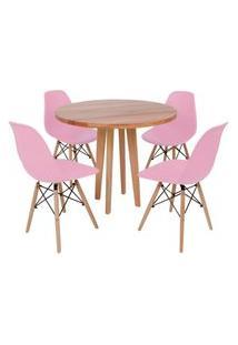 Conjunto Mesa De Jantar Em Madeira 90Cm Com Base Vértice + 4 Cadeiras Eiffel - Rosa