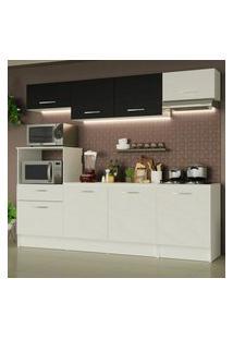 Cozinha Completa Madesa Onix 240002 Com Armário E Balcáo - Branco/Preto 0973 Branco