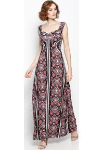 Vestido Longo Abstrato Com Torção- Preto & Rosa- Nolnolitta