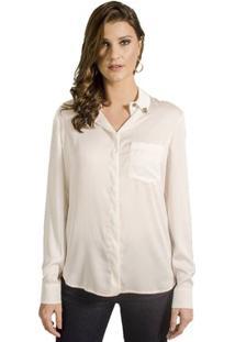Camisa Com Broches Alphorria Feminina - Feminino-Off White