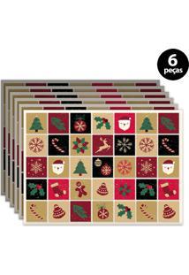 Jogo Americano Mdecore Natal 40X28Cm Colorido 6Pçs