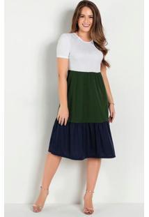 Vestido Tricolor Camadas Moda Evangélica