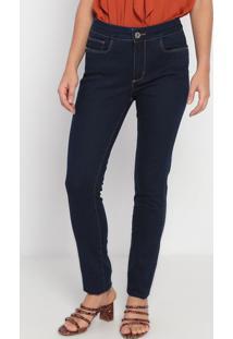 Jeans Skinny Com Bolsos- Azul Escuro- Ennaenna