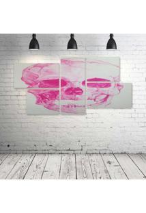 Quadro Decorativo - Skull-Pink - Composto De 5 Quadros