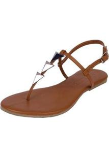 Sandália Rasteira Mercedita Shoes Flat Pirâmide Feminina - Feminino-Caramelo