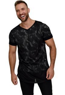 Camiseta Long Dalcomuni Double C/ Telinha Militar Black