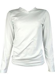 Camisa Térmica Feminina Segunda Pele Gola V Thermo Premium - Feminino-Branco