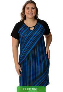 Vestido Com Decote Diferenciado Azul