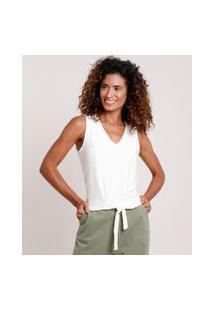 Regata Feminina Texturizada Com Nó Decote V Off White