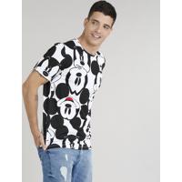 Camiseta Masculina Estampada Mickey Manga Curta Gola Careca Branca CEA 929aa2b888