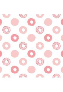 Papel De Parede Quartinhos Adesivo Infantil Bolinhas Em Rosa 2,70X0,57M