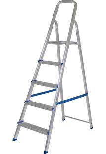 Escada Alumínio 5 Degraus Mor Prata