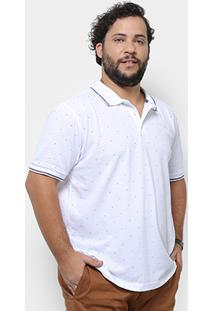 Camisa Polo Broken Rules Poá Plus Size Masculina - Masculino-Branco