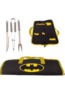 Kit Para Churrasco 3 Peças E Estojo Do Batman