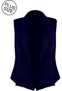 Colete Linda D Alfaiataria Com Bolsos - Plus Size (H3585) Azul