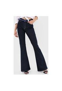 Calça Jeans Polo Wear Flare Pespontos Azul-Marinho