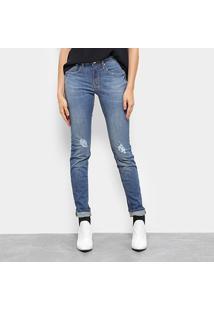 Calça Jeans Slim Calvin Klein Five Pockets Mid Rise Feminina - Feminino-Azul Escuro
