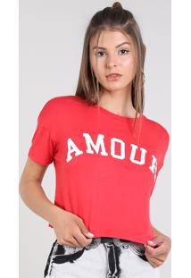 "Blusa Feminina Cropped ""Amour"" Manga Curta Decote Redondo Vermelha"