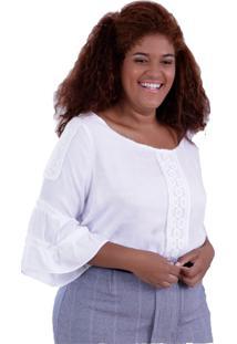 Blusa Alexa Branca Plus Size Vickttoria Vick Plus Size Branco
