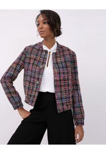 Blazer Tweed Com Botões Decorativos
