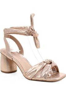 Sandália Couro Shoestock Lace Up Cali Metalizada - Feminino-Rosa