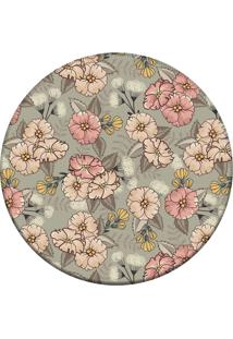 Tapete Love Decor Redondo Wevans Cute Flowers Cinza 94Cm - Cinza - Dafiti