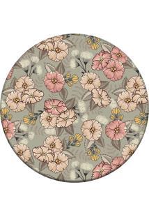 Tapete Love Decor Redondo Wevans Cute Flowers Cinza 94Cm