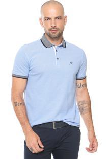 Camisa Polo Dudalina Reta Jacquard Azul