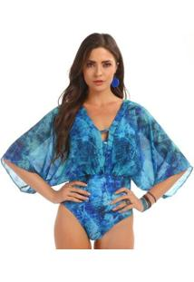 Maiô Sem Costura Manly - Feminino-Azul