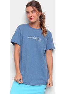 Camiseta Colcci Linho Consciência Feminina - Feminino-Azul