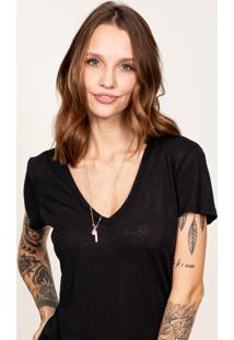 Camiseta Cora Decote V Em Linho Preta
