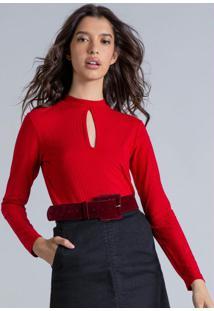 Blusa Manga Longa Gola Alta Vermelho