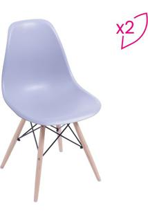 Jogo De Cadeiras Eames Dkr- Cinza & Madeira Clara- 2Or Design