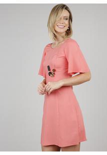 Vestido Feminino Curto Com Tiras Manga Curta Coral
