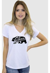 Camiseta Suffix Branca Estampa Urso California Gola V
