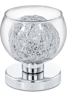 Abajur Aço Cromado Vidro Transparente Alumínio 1 X 10W G9