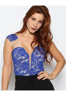 Body Com Renda & Recortes - Azul Escuro & Bege Claromaria Gueixa