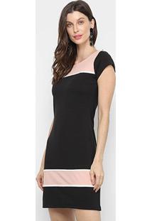 Vestido Los Wear Curto Crepe Bicolor - Feminino-Preto+Rosa