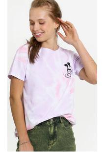 Blusa Feminina Estampa Tie Dye Mickey Manga Curta Disney