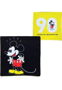"Capa Para Almofada Mickeyâ® ""90""- Preta & Amarela- 44Mabruk"