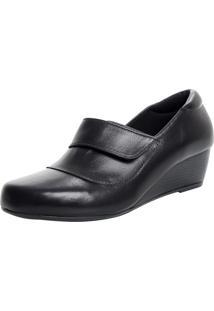 Sapato Fechado Laura Prado Confort Anabela Preto