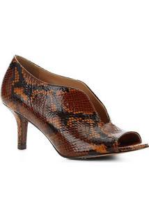 Sandália Couro Shoestock Salto Fino Vamp Snake Feminina - Feminino-Caramelo