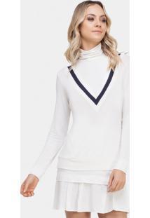 eb850127d ... Blusa Gola Em Malha Com Retilínea Branco Off White - Lez A Lez