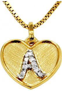 Pingente Em Ouro 18K Coração Com Letra A Com 5 Diamantes - Pg20104