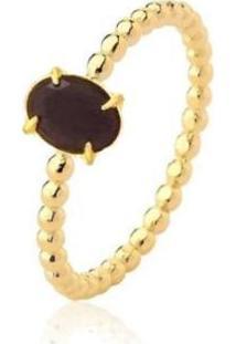 Anel Solitário Oval Zircônia Negra Banhado 18K Lys Lazuli Feminino - Feminino-Dourado