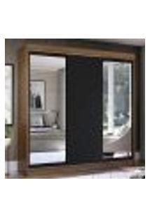 Guarda-Roupa Casal Madesa Istambul 3 Portas De Correr Com Espelhos 3 Gavetas - Rustic/Preto